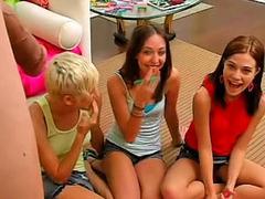 Horny teen Brandi and her girlfriends having fun with bushwa