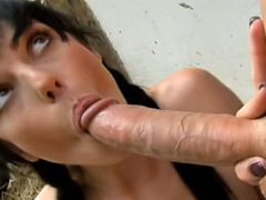 Tenebrous cute babe sucking and getting fucked hard by big blarney