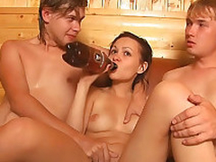 Adorable powered babe gets ass fucked hard by 2 sexy guys