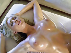 Busty horny blonde licks big cock