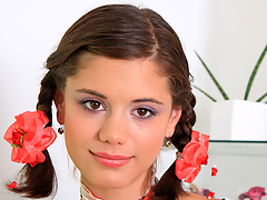 Pigtailed legal age teenager Caprice playing with her pink and wet 18yo snatch on camera
