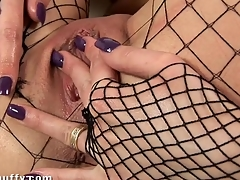 Hawt darling is gratifying her wet cunt with various toys