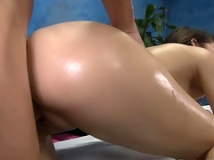 Sexy and horny 18 year old slut gets a hard fuck from her massage therapist