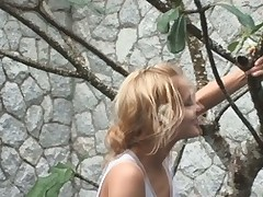 Golden-haired Sasha finds a sex-toy tree with a blue vib for her