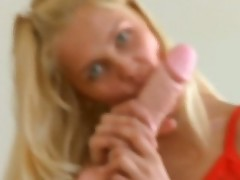 Cheerful and pretty blonde Sasha Blonde is banging her pussyhole