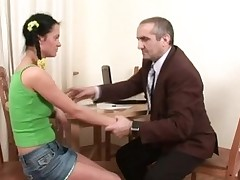 Ravishing hottie is getting her twat drilled by tutor from behind