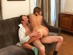 Enchanting honey is getting her cum-hole drilled by tutor from behind