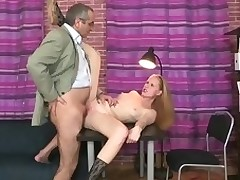 Roasting old teacher is pounding chick's twat tenaciously