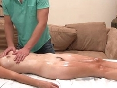 Sensual oil massage with vigorous fucking action
